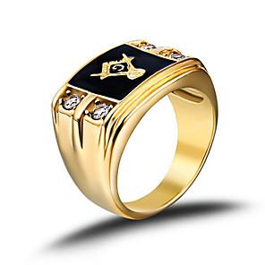 ieftine Inele-Bărbați Band Ring Inel sigiliu Masonice inele Auriu Teak Ștras Placat Auriu Modă Pietrele Lunilor Armată Cadouri de Crăciun Nuntă Bijuterii francmason creasta familiei / Diamante Artificiale