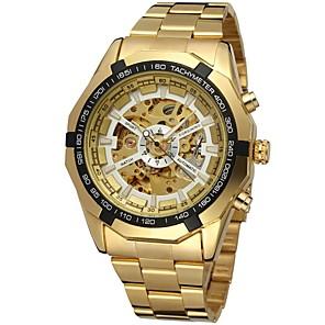 ieftine Ceasuri Bărbați-FORSINING Bărbați Ceas Schelet Ceas de Mână ceas mecanic Mecanism automat Oțel inoxidabil Auriu Gravură scobită Analog Lux Modă - Negru Alb Auriu