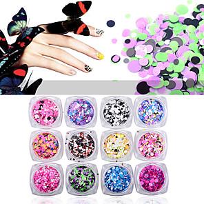 ieftine Inele-12pcs Strălucire Paiete nail art pedichiura si manichiura Zilnic Glitters / Neon & Bright / Modă