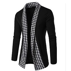 ieftine Bluze de Bărbați și Cardigane-Bărbați Imprimeu Carouri Cardigan Manșon Lung Zvelt Regular Pulover Cardigans Primăvară Toamnă Iarnă Negru Gri Închis / Sfârșit de săptămână