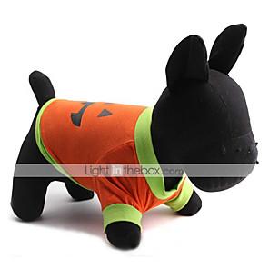 ieftine Lanterne de Mână-Pisici Câine Costume de Halloween Tricou Desene Animate Halloween Îmbrăcăminte Câini Respirabil Portocaliu / verde Portocaliu Costume Bumbac XS S M L