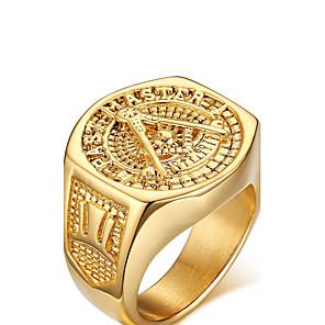 ieftine Inele-Bărbați Inel de declarație degetul mare Auriu Placat Auriu Aur Alb femei Personalizat Stil Vintage Nuntă Petrecere Bijuterii Iubire creasta familiei