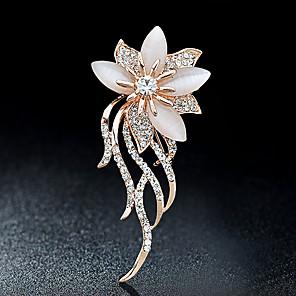 povoljno Broševi-Žene Broševi Cvijet dame Stilski Elegantno Talijanski Svaki dan Kristal Umjetno drago kamenje Broš Jewelry Zlato Za Party Kauzalni