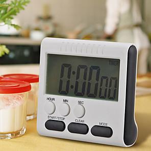 ราคาถูก การวัดและเครื่องชั่ง-1pcs สีดำตารางแม่เหล็ก LCD ขนาดใหญ่นาฬิกาจับเวลาครัวดิจิตอลนับขึ้นลงนาฬิกาปลุกได้ตลอด 24 ชั่วโมงพร้อมขาตั้ง