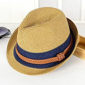 povoljno Zidni ukrasi-Uniseks Color block Vjenčanje Slama-Ribički šešir Slamnati šešir Šešir za sunce Ljeto Braon Navy Plava Žutomrk