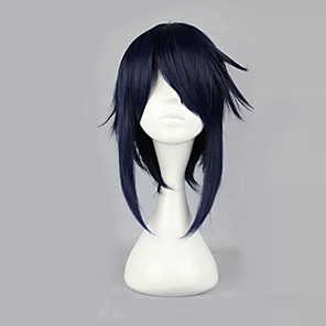 cheap Cosplay Wigs-K Reishi Munakata Cosplay Wigs Men's 16 inch Heat Resistant Fiber Ink Blue Anime