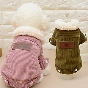 povoljno Odjeća za psa i dodaci-Mačka Pas Kaputi Jednobojni Ležerno / za svaki dan Moda Vanjski Zima Odjeća za psa Pink Kava Kostim Pliš S M L XL