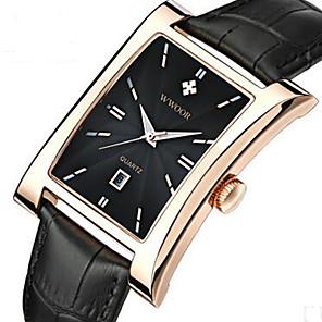 ieftine Ceasuri Bărbați-WWOOR Bărbați Ceas de Mână Quartz Piele Negru / Maro 30 m Calendar Cool Analog Casual Modă - Auriu Negru / Argintiu Alb / Bej
