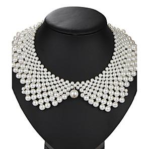 levne Módní náhrdelníky-Perla Límeček dámy Vintage Euramerican Perly Napodobenina perel Slitina Bílá Náhrdelníky Šperky 1ks Pro Svatební Párty Narozeniny Denní Plesová maškaráda Zásnuby