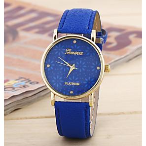 저렴한 여성 디지털 시계-손목 시계 석영 가죽 화이트 / 블루 / 레드 아날로그 패션 - 그린 레드 블루
