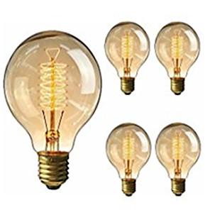 ieftine Becuri Incandescente-5pcs 40W E26 / E27 G95 Alb Cald 2200-2800k Retro Intensitate Luminoasă Reglabilă Decorativ Incandescent Vintage Edison bec 220-240V