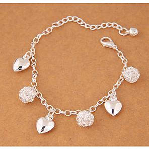 levne Náramky-Dámské Náramky s přívěšky Srdce dámy Módní Slitina Náramek šperky Stříbrná Pro Párty