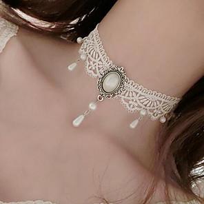 ieftine Ustensile & Gadget-uri de Copt-Pentru femei Coliere Choker Pandative Floare Stil Tatuaj Stil Atârnat Imitație de Perle Dantelă Alb Coliere Bijuterii Pentru Nuntă Petrecere Ocazie specială Zi de Naștere Logodnă Zilnic / Casual