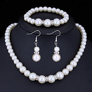 ieftine Seturi de Bijuterii-Pentru femei Cristal Seturi de bijuterii femei De Bază Imitație de Perle Ștras cercei Bijuterii Alb Pentru Cadouri de Crăciun Nuntă Petrecere Ocazie specială Aniversare Zi de Naștere