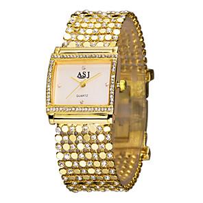저렴한 로리타 패션-ASJ 여성용 숙녀 럭셔리 시계 팔찌 시계 금시계 일본어 골드 모조 다이아몬드 아날로그 사치 스파클 패션 우아함 - 화이트 블랙