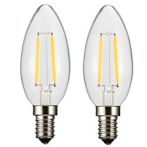 ieftine Becuri LED Lumânare-ONDENN 2pcs 2 W Bec Filet LED 150-200 lm E14 E12 CA35 2 LED-uri de margele COB Intensitate Luminoasă Reglabilă Alb Cald 220-240 V 110-130 V / 2 bc / RoHs / CE