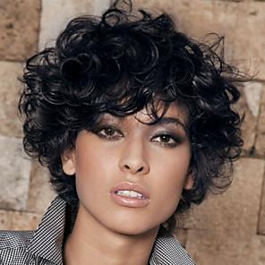 hesapli Peruklar ve Saç Postijleri-Sentetik Peruklar Bukle Bukle Peruk Şort Simsiyah Sentetik Saç Kadın's Siyah MAYSU