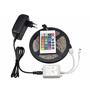 ieftine Benzi Lumină LED-bandă led rgb 5050 smd 10mm 300leds 5m lampă cu șnur led 24 de taste ir telecomandă dc 12v 3a alimentare adaptor