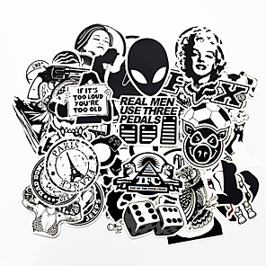 ieftine Abțibilde Auto-ziqiao 100 buc alb-negru autocolante cool diy pentru masina skateboard laptop bagaje snowboard frigider telefon jucărie styling home decor autocolante