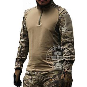 ieftine Stil Pescuit-Bărbați Tricou de Vânătoare În aer liber Tactic Impermeabil Rezistent la Vânt Respirabil Primăvară Vară Toamnă Topuri Manșon Lung Vânătoare Sporturi de Agrement Militar Camuflaj / Iarnă / Iarnă
