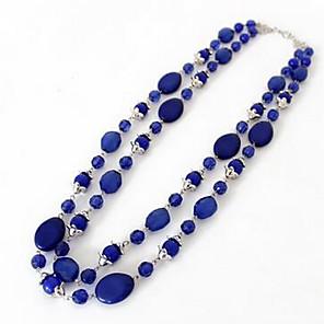ieftine Colier la Modă-Pentru femei Sapphire sintetic Coliere cu Pandativ Coliere Lung Dublu Lant de rozariu Floare Vărsătorul femei Modă Euramerican Pietre sintetice Albastru Închis Coliere Bijuterii Pentru Petrecere
