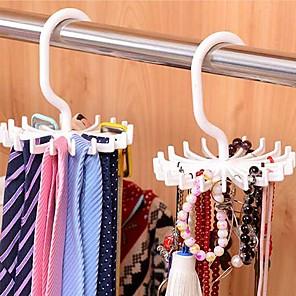 abordables Gadgets & Ustensiles de Cuisine-crochet réglable 20 crochet tournant ceinture organisateur foulard organisateur cravate détient