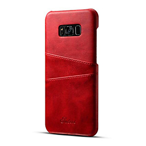 ieftine Încărcătoare Auto-Maska Pentru Samsung Galaxy S8 Plus / S8 Titluar Card Capac Spate Mată Greu PU piele