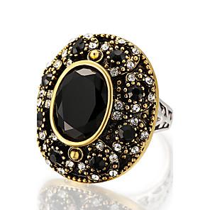 Dame Statement Ring Ring Onyks Svart Grønn Rød Harpiks Legering Rund Geometrisk Form Statement damer Personalisert Bryllup Fest Smykker