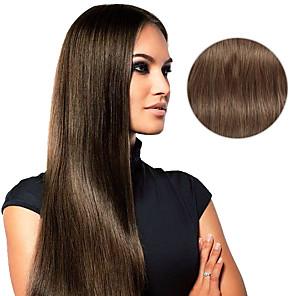 hesapli Dekorasyon Etiketleri-Klipsli İnsan Saç Uzantıları Düz Gerçek Saç Postişleri Gerçek Saç Kadın's - Kestane Kahvesi