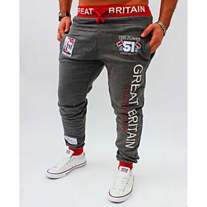 ieftine Ștanțare-Bărbați Activ / De Bază Sport Zvelt Larg / Activ / Pantaloni Sport Pantaloni - Scrisă Imprimeu Vară Negru Gri Închis Gri Deschis L XL XXL / Elasticity