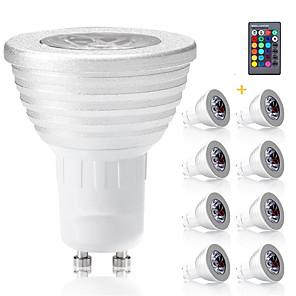 povoljno Halloween smink-8pcs gu10 rgb žarulje bombillas vodio 3w gu10 rgbw vodio žarulju prigušiva bijeli GU 10 led žarulja 16 boja s daljinskim