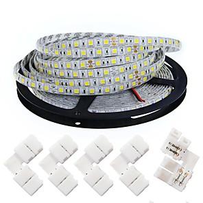 ieftine Benzi Lumină LED-KWB 5m Fâșii De Becuri LEd Flexibile 300 LED-uri 5050 SMD 10mm Alb Cald Alb Ce poate fi Tăiat Intensitate Luminoasă Reglabilă De Legat 12 V / Potrivite Pentru Autovehicule / Auto- Adeziv / IP44