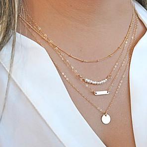 ieftine Colier la Modă-Pentru femei Perle Lănțișoare Coliere Layered Multistratificat Măr Plin de graţie femei Personalizat Modă Perle Aliaj Coliere Bijuterii Pentru Cadouri de Crăciun Petrecere Zilnic Casual Sport