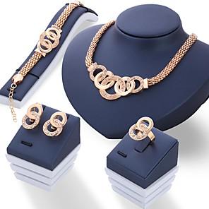 ieftine Produse Fard-Pentru femei Seturi de bijuterii femei Design Unic Italiană Ștras cercei Bijuterii Auriu / Argintiu Pentru Nuntă Petrecere Zilnic / Inele / Cercei / Coliere