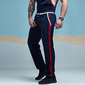 ieftine Produse Fard-Bărbați Sportiv / Activ Zilnic Sport Concediu Larg / Pantaloni Sport Pantaloni - Dungi Plasă Primăvară Vară Negru Roșu-aprins Bleumarin M L XL / Sfârșit de săptămână