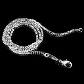 ieftine Colier la Modă-Pentru femei Lănțișoare De Bază stil minimalist Plastic Argintiu 3# 4# 5# Coliere Bijuterii Pentru Nuntă Petrecere Cadou Zilnic Casual