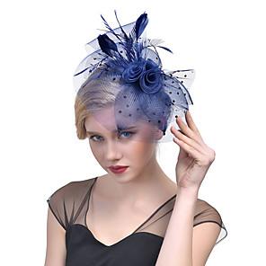 levne Ozdoby do vlasů-Tyl / Peří / Síť Fascinátory / Doplňky do vlasů s Květiny 1ks Svatební / Zvláštní příležitosti / Dostih Přílba