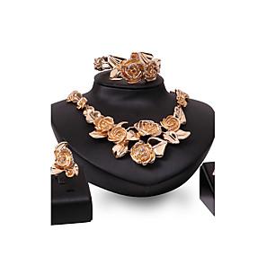 ieftine Seturi de Bijuterii-Pentru femei Seturi de bijuterii Floare Declarație femei Personalizat Vintage Modă Euramerican Placat Auriu cercei Bijuterii Auriu Pentru Nuntă Petrecere Ocazie specială Felicitări / Inele / Brățară