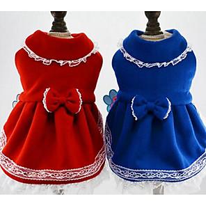 ieftine Pet Costume de Crăciun-Câine Rochii Crăciun Îmbrăcăminte Câini Prințesă Albastru Închis Rosu Jos Bumbac Costume Pentru Iarnă Pentru femei Casul / Zilnic Modă