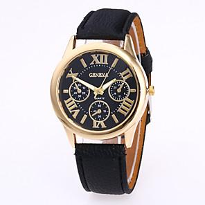 preiswerte Uhren Zubehör-Geneva Damen Uhr Armbanduhr Quartz Leder Schwarz / Weiß / Rot Armbanduhren für den Alltag Analog damas Charme Freizeit Modisch Grün Rosa Hellblau