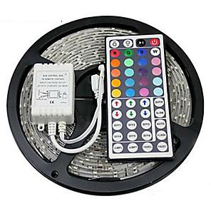 ieftine Cabluri de Adaptor AC & Curent-Zdm 5m impermeabil 300 x 2835 benzi led de 8mm rgb flexibile ușor și telecomandă ir 44key conectabil auto-adeziv care schimbă culoarea