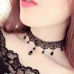 ieftine Colier la Modă-Pentru femei Coliere Choker Franjuri Picătură femei Ciucure Vintage Gotic Dantelă Reșină Negru Coliere Bijuterii Pentru Petrecere Costume Cosplay