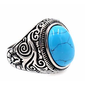 povoljno Prstenje-Muškarci Prsten Pečatni prsten prsten za palac Tirkiz Topaz Crn Braon Obala Tikovina Titanium Steel Obsidian Krug dame Jedinstven dizajn Osnovni Hvala vam Dnevno Jewelry Graviranog