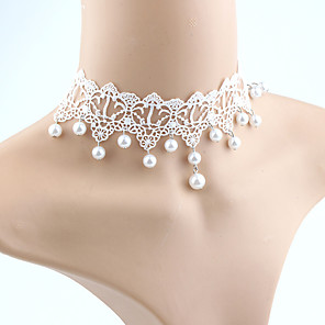 ieftine Colier la Modă-Pentru femei Perle Coliere Choker Franjuri femei Ciucure Modă Euramerican Imitație de Perle Dantelă Alb perlă Alb Coliere Bijuterii Pentru Nuntă Mascaradă Petrecere Logodnă Bal Promisiune Costume