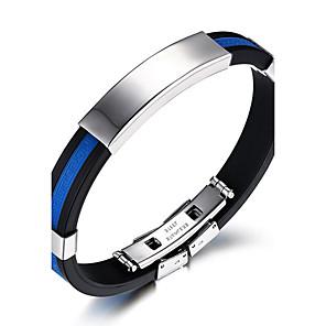 ieftine Brățări-Bărbați ID brățară Rock Modă Hip-Hop Silicon Bijuterii brățară Alb / Rosu / Albastru Pentru Zi de Naștere Cadou Sport / Oțel titan