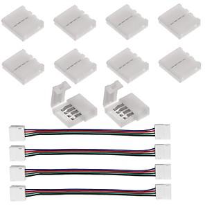 ieftine Conectori-10pcs conector cu 4 pini pentru 5050 rgb led și 4pcs led 5050 rgb conector lumină bandă 4 conductor 10 mm bandă lată pentru a sari salt