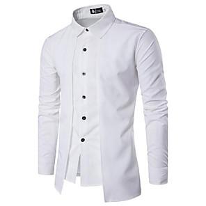 ieftine Blazer & Costume de Bărbați-Bărbați Guler Larg Cămașă Bumbac Chinoiserie - Mată De Bază Negru / Manșon Lung / Primăvară / Toamnă / Zvelt