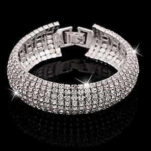 ieftine Colier la Modă-Pentru femei Cristal Brățări Bangle Bratari de tenis praf de stele femei Manşetă Lux De Bază Elegant Diamante Artificiale Bijuterii brățară Argintiu / Auriu Pentru Nuntă Party / Seara Zilnic Casual