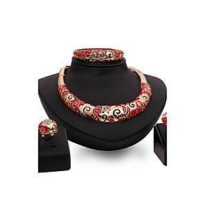 ieftine Bijuterii de Păr-Pentru femei Sintetic Ruby Seturi de bijuterii Declarație Personalizat Lux Vintage Modă Euramerican Ștras Placat Auriu cercei Bijuterii Auriu Pentru Petrecere Ocazie specială Inaugurare a unei case
