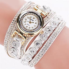ieftine Seturi de Bijuterii-Pentru femei femei Ceasuri de lux Ceas Brățară Diamond Watch Quartz Wrap Piele Negru / Alb / Argint imitație de diamant Analog Sclipici Modă Bling bling - Roz Albastru Deschis Kaki Un an Durată de